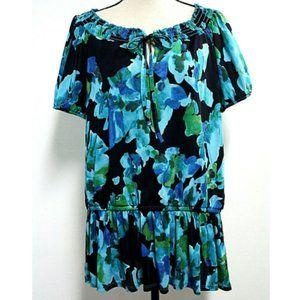 Avenue Womens 18/20 Blouse Black Blue Floral Smock